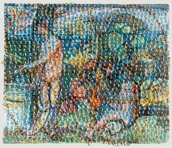 """Filipe Rocha da Silva, """"Idílica ou Giorgione,"""" Acrílico reflector sobre vidro temperado de 4 mm e madeira pintados, 125x145 cm, 2005"""