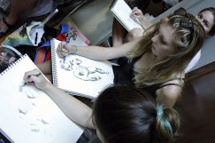 SACI students drawing at the Academia Gallery