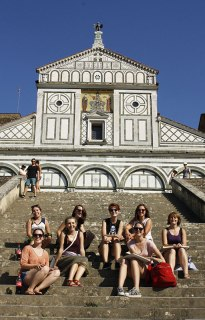 SACI drawing students at San Miniato al Monte
