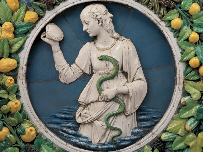 Andrea della Robbia, Prudence (detail), about 1475. Glazed terracotta. Lent by the Metropolitan Museum of Art, Purchase, Joseph Pulitzer Bequest, 1921.
