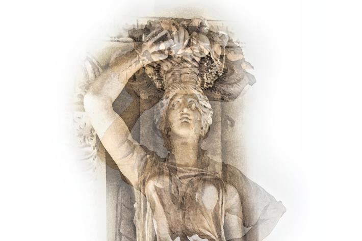 """Virginia Maksymowicz, """"Comparisons (Canephora, Vatican Museums, Rome, Italy—Folk Statue,"""" Museo Nazionale delle Arti e Tradizioni Popolari, EUR, Rome, Italy), inkjet print, 22""""h x 17""""w, 2015"""