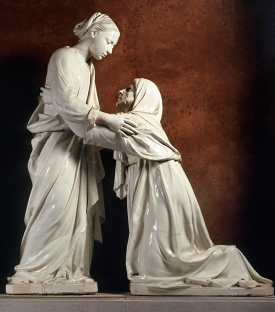 "Luca Della Robbia, ""The Visitation,"" c. 1445, Glazed terracotta, Church of San Giovanni Fuorcivitas, Pistoia. Photograph: Scala/Art Resource, NY."