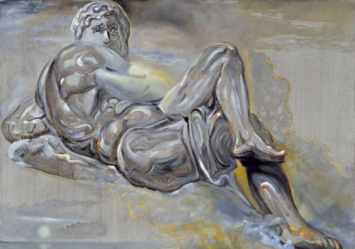 """Salvador Dali', """"Untitled,"""" after """"Day"""" from tomb of Giuliano de'Medici by Michelangelo, 1982, oil on canvas, 67x95cm"""