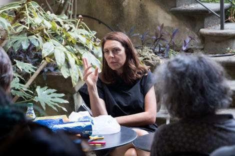 Artist Enrica Borghi giving demonstration at SACI