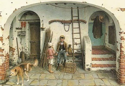 "Illustration by Roberto Innocenti for ""The Adventures of Pinocchio"" by Carlo Collodi."