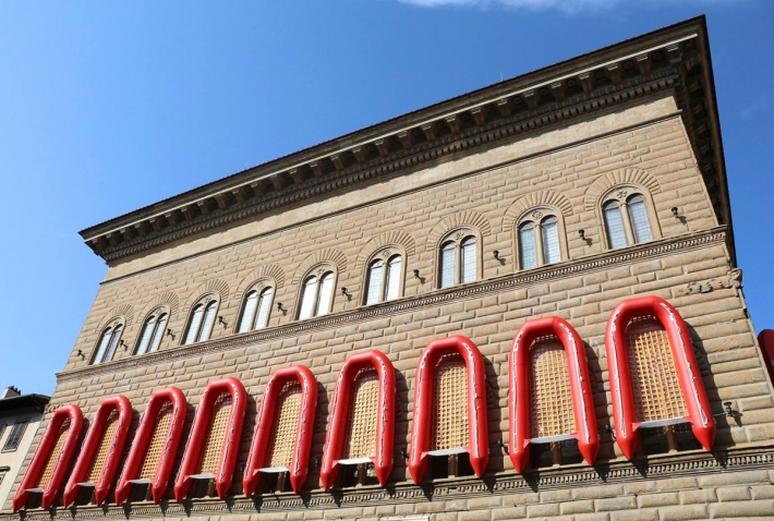 "Façade of the Palazzo Strozzi with Ai Wei Wei installation ""Reframe"" 2016, PVC plastic, PC plastic, rubber, 650 x 325 x 75 cm each (Photo by Christina Gednalske)"