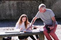 SACI Drawing student with instructor, John Taylor in Boboli Gardens.