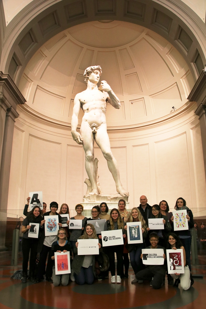 SACI MX students with their designs in the Galleria dell'Accademia di Firenze