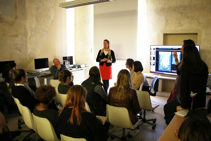 Dr. Cecilie Hollberg, Director of the Galleria dell'Accademia di Firenze presenting to SACI MX students