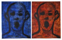 "Jim Dine, ""Two Poets Singing Beautifully,"" 2016, Copperplate etching and collograph on Bright White Hahnemuhle paper (diptych), Paper and image 146 x 214.5 cm, Edition of 12"