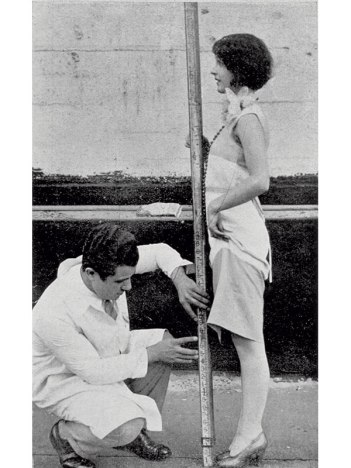 SALVATORE FERRAGAMO MEASURES THE MIDLINE OF A CUSTOMER'S BODY AND FEET, 1927 IN GRAN BAZAR, 1928, pp. 40–41